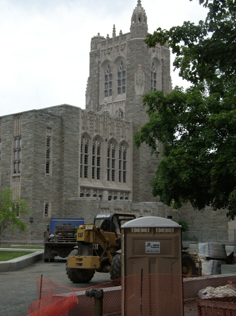 Princeton Chapel with nearby construction